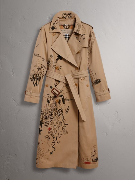 Sketch Print Cotton Gabardine Trench Coat in Honey - Women | Burberry Singapore - cell image 3