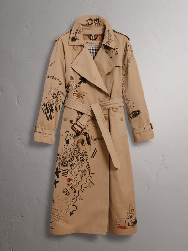 Sketch Print Cotton Gabardine Trench Coat in Honey - Women | Burberry - cell image 3