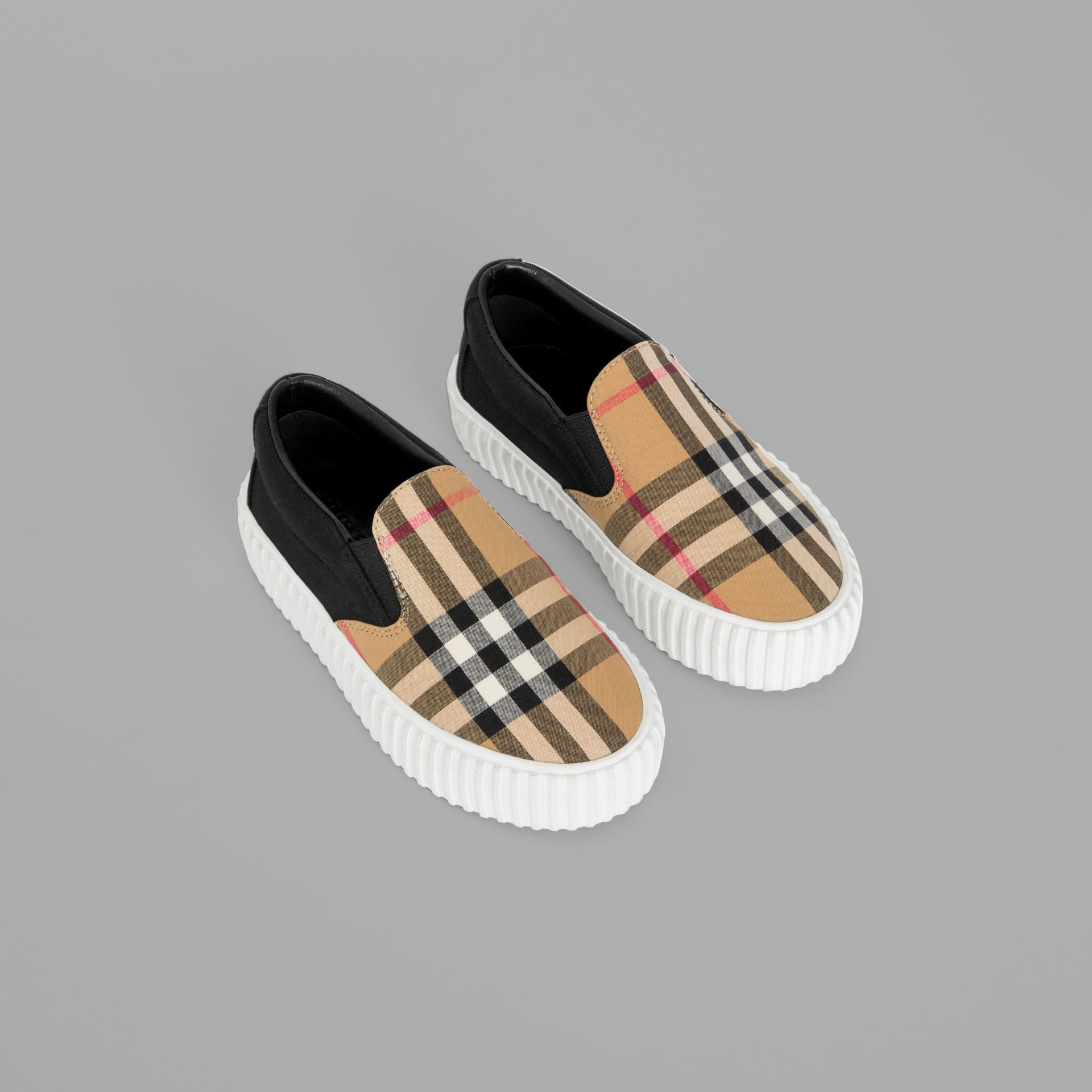 Vintage Check Detail Slip-on Sneakers in Black/antique Yellow - Children | Burberry - gallery image 0
