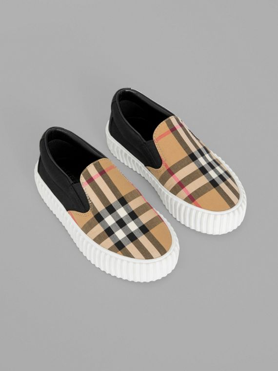 Vintage Check Detail Slip-on Sneakers in Black/antique Yellow