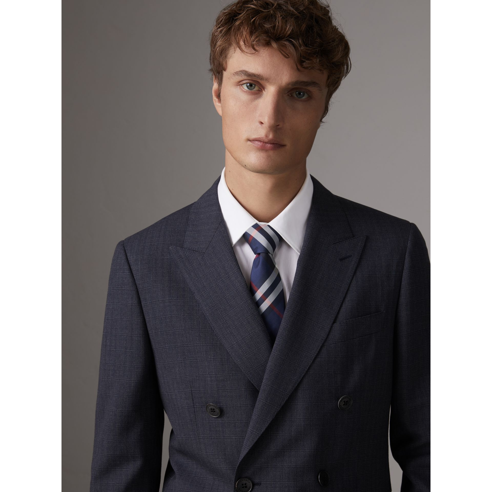 Modern Cut Check Silk Twill Tie in Navy - Men | Burberry Australia - gallery image 2