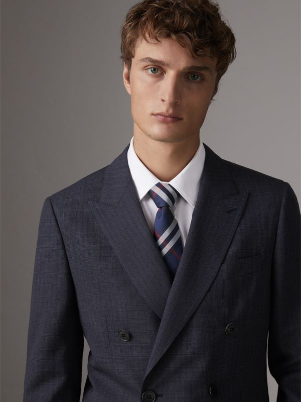 Modern Cut Check Silk Twill Tie in Navy - Men | Burberry Australia - cell image 2