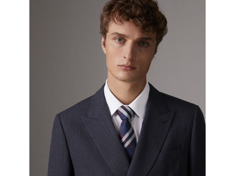 Modern Cut Check Silk Twill Tie in Navy - Men | Burberry United Kingdom - cell image 2