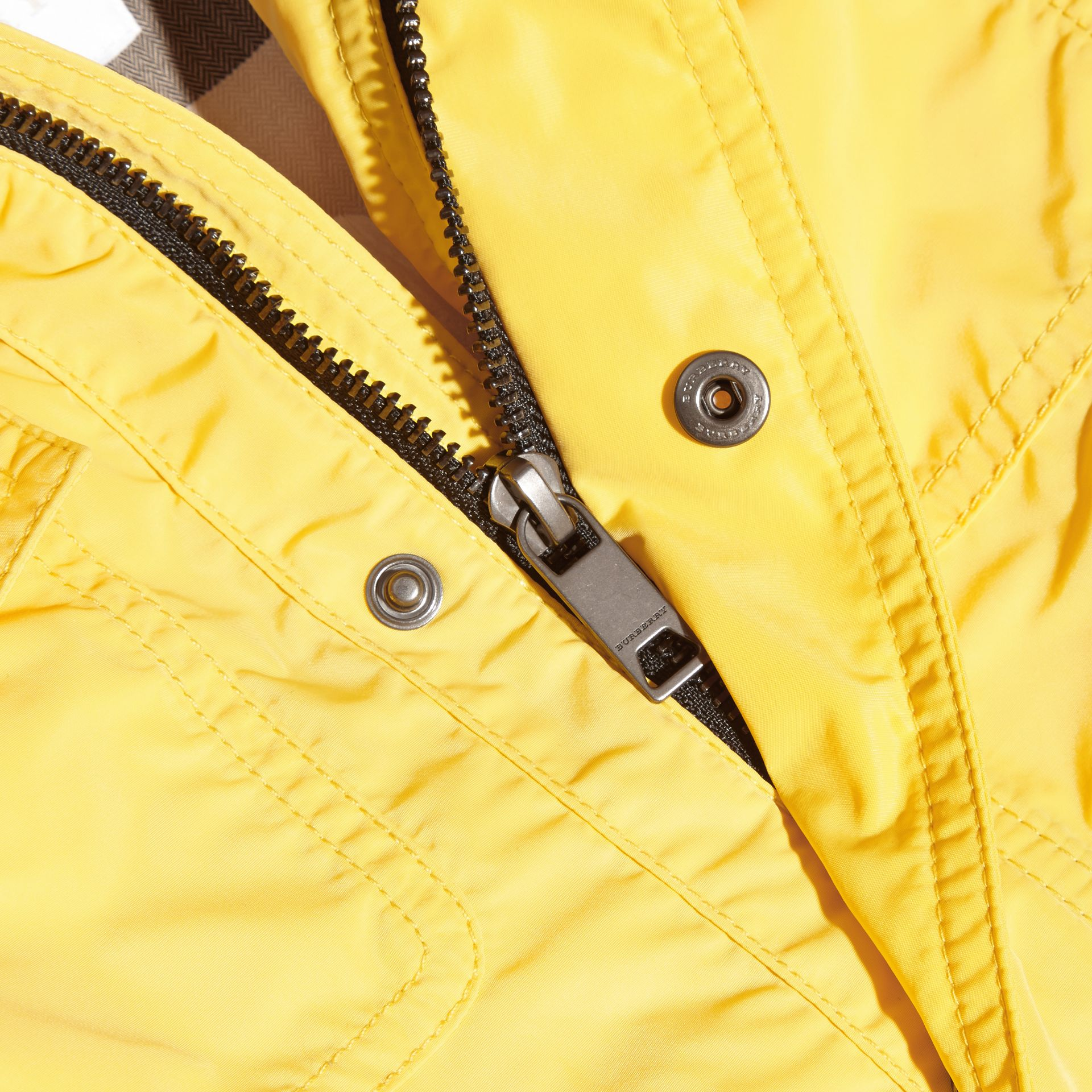 Hooded Packaway Technical Jacket Bright Yellow - gallery image 2