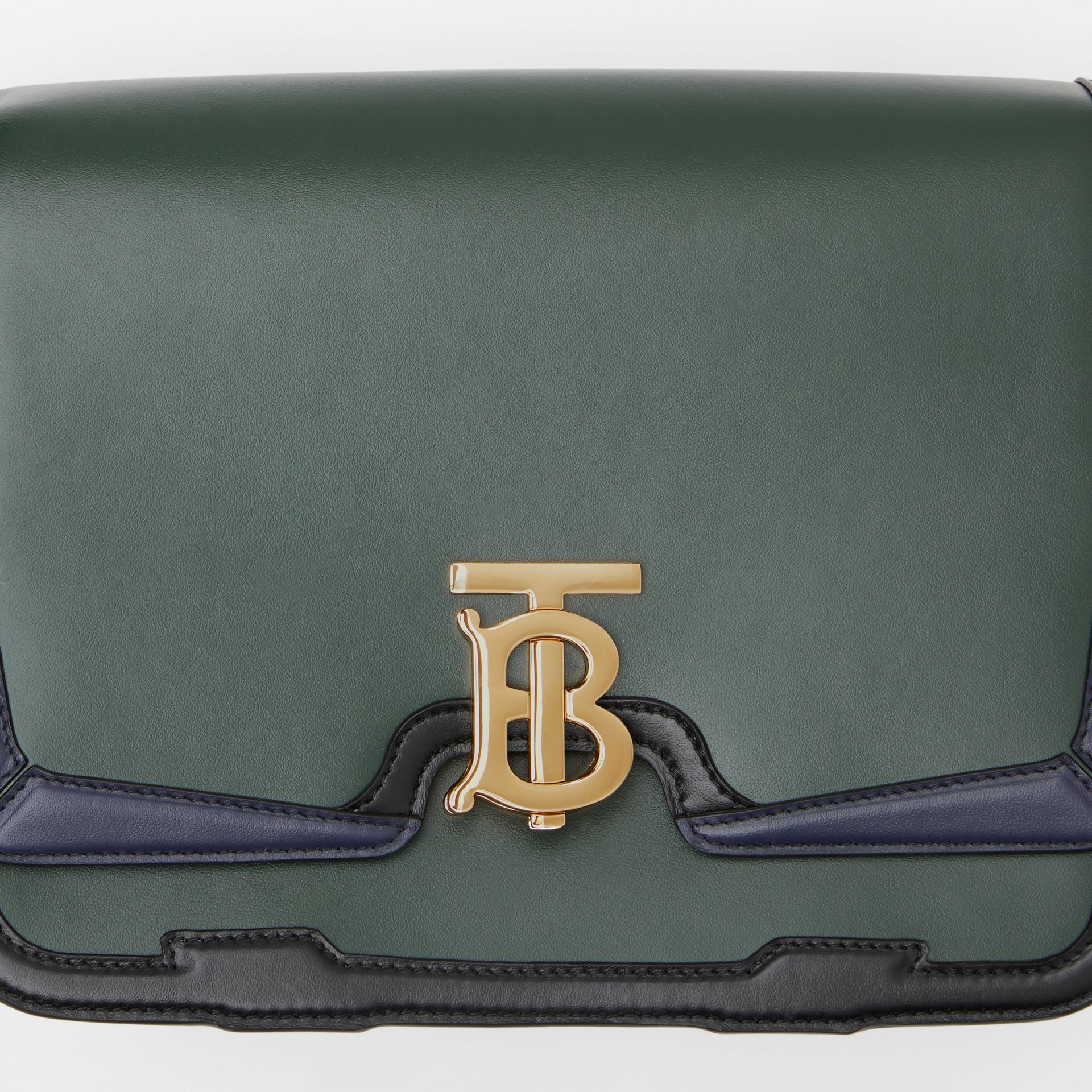 Medium Appliqué Leather TB Bag in Dark Pine Green - Women | Burberry United Kingdom - gallery image 1