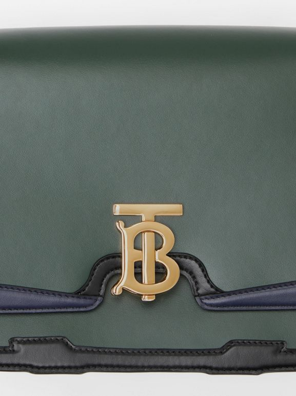 Medium Appliqué Leather TB Bag in Dark Pine Green - Women | Burberry United Kingdom - cell image 1