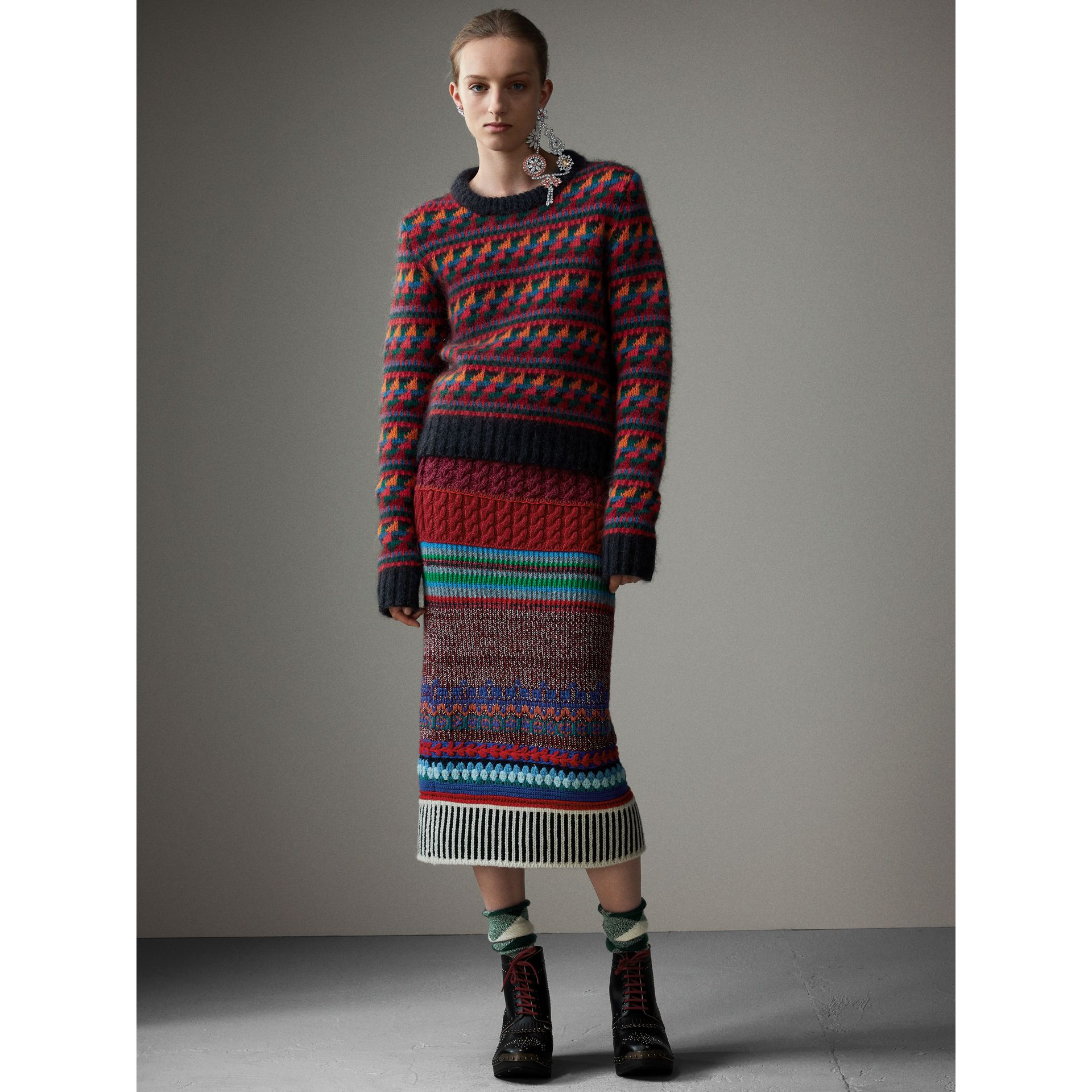Hand-crocheted Detail Cashmere Wool Blend Skirt in Multicolour - Women | Burberry - gallery image 1