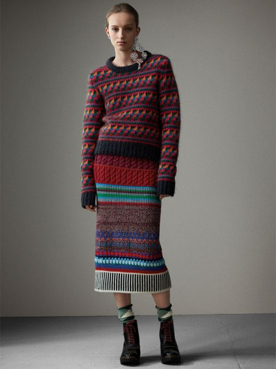 Hand-crocheted Detail Cashmere Wool Blend Skirt in Multicolour