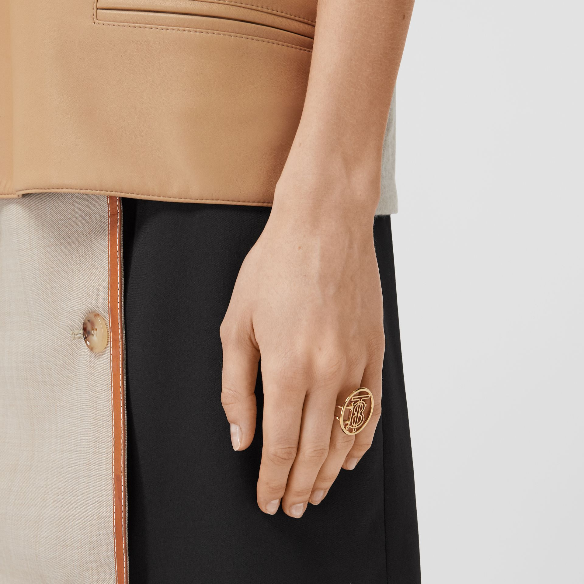 Large Gold-plated Monogram Motif Ring in Light - Women | Burberry United Kingdom - gallery image 1