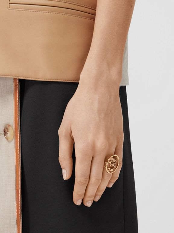 Large Gold-plated Monogram Motif Ring in Light - Women | Burberry United Kingdom - cell image 1
