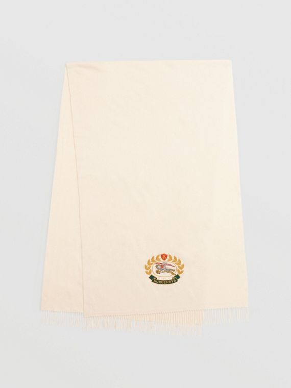 The Large Classic Cashmere Scarf with Archive Logo in Natural White