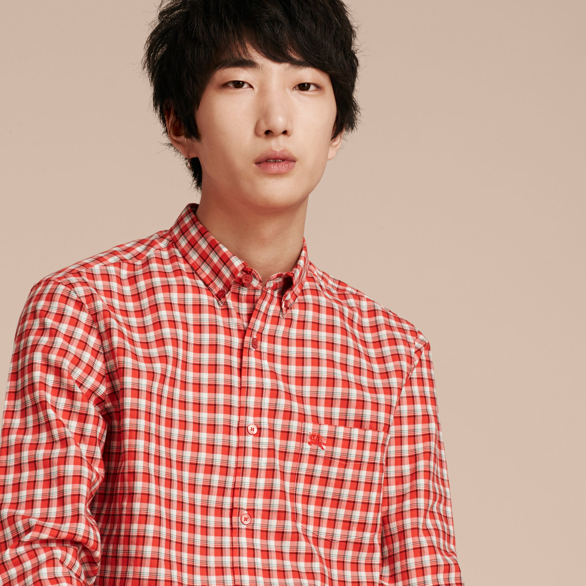 Parade red Gingham Check Cotton Twill Shirt Parade Red - gallery image 5