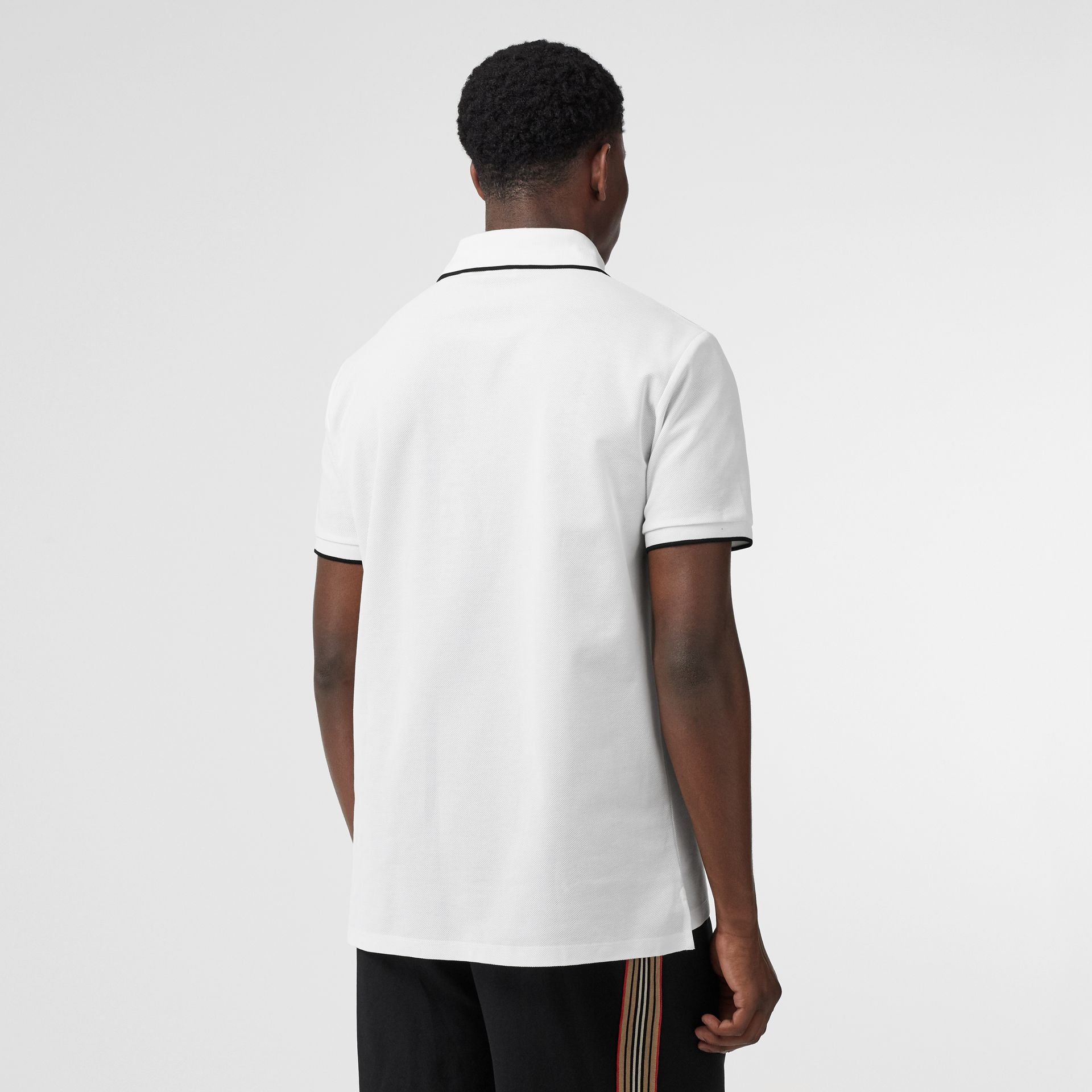 Monogram Motif Tipped Cotton Piqué Polo Shirt in White - Men | Burberry United Kingdom - gallery image 2