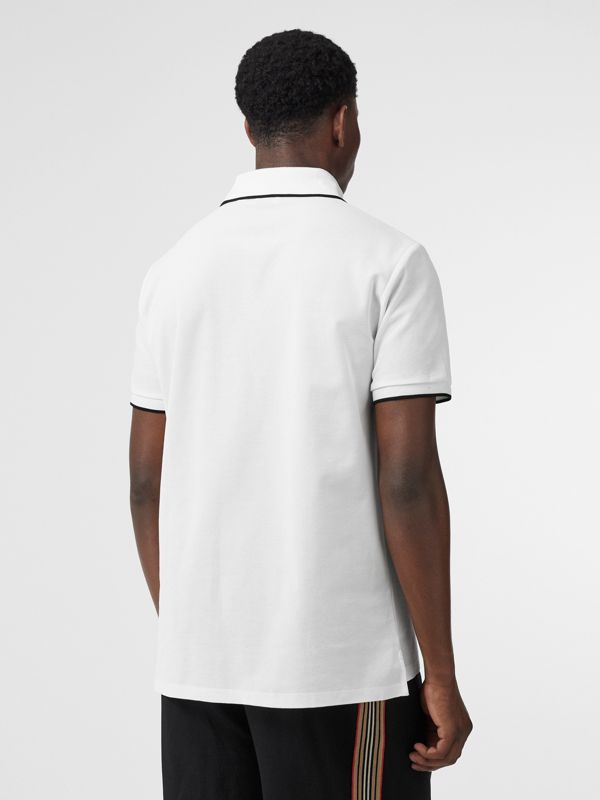 Monogram Motif Tipped Cotton Piqué Polo Shirt in White - Men | Burberry - cell image 2