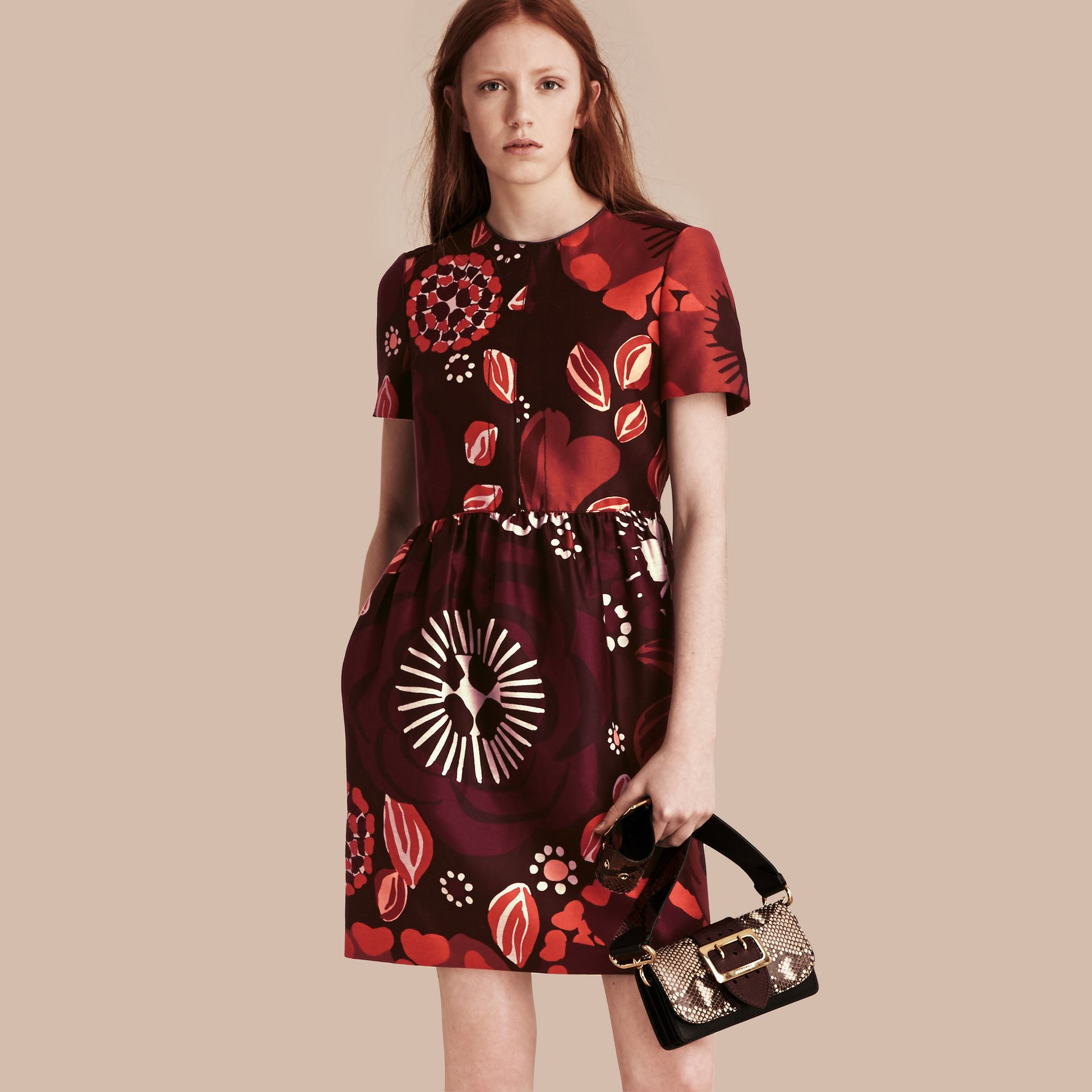 Deep burgundy Floral Print Cotton Wool Blend A-line Dress - gallery image 1