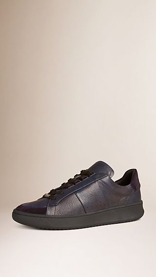 Camouflage Print Leather and Suede Trainers