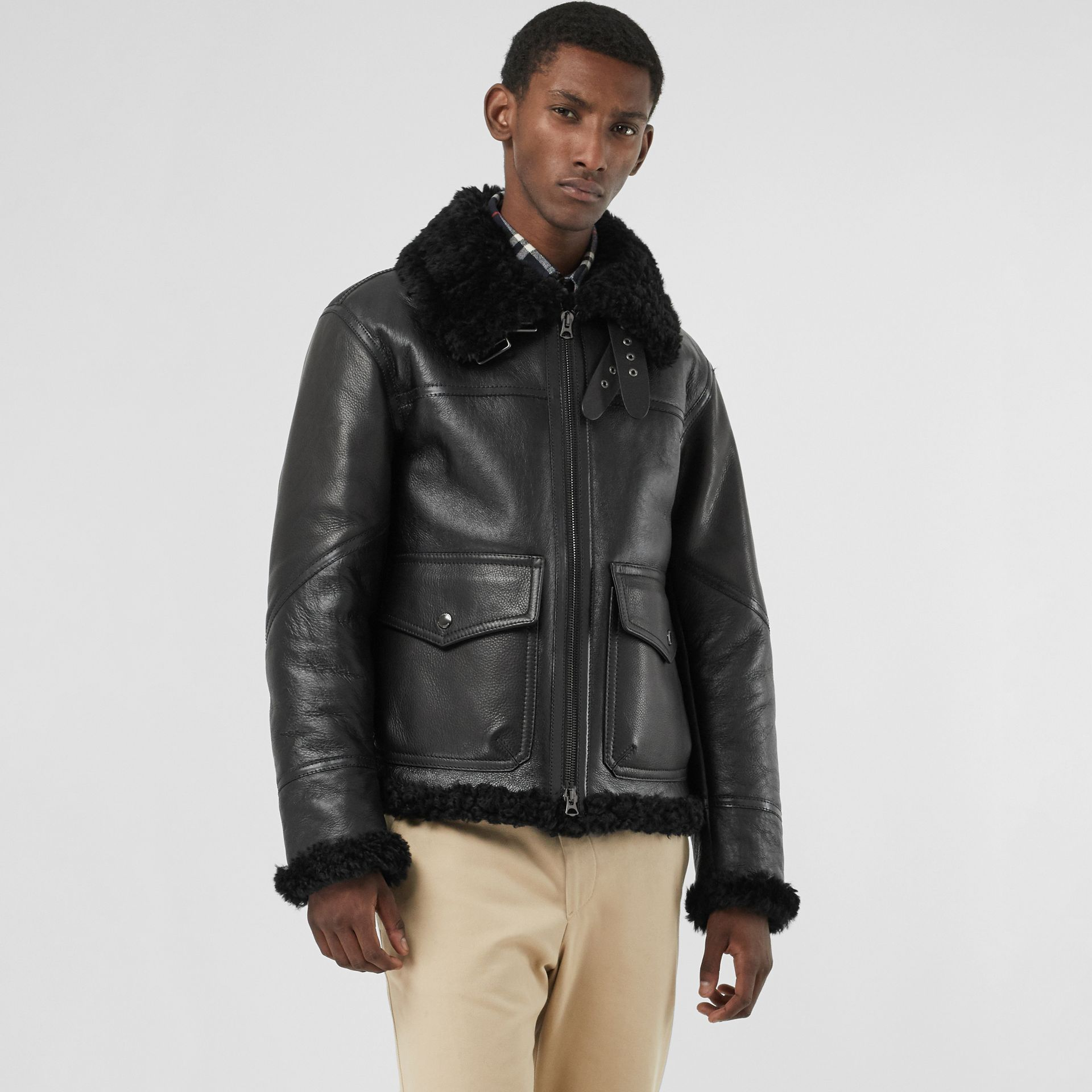 Shearling Aviator Jacket in Black - Men | Burberry - gallery image 4