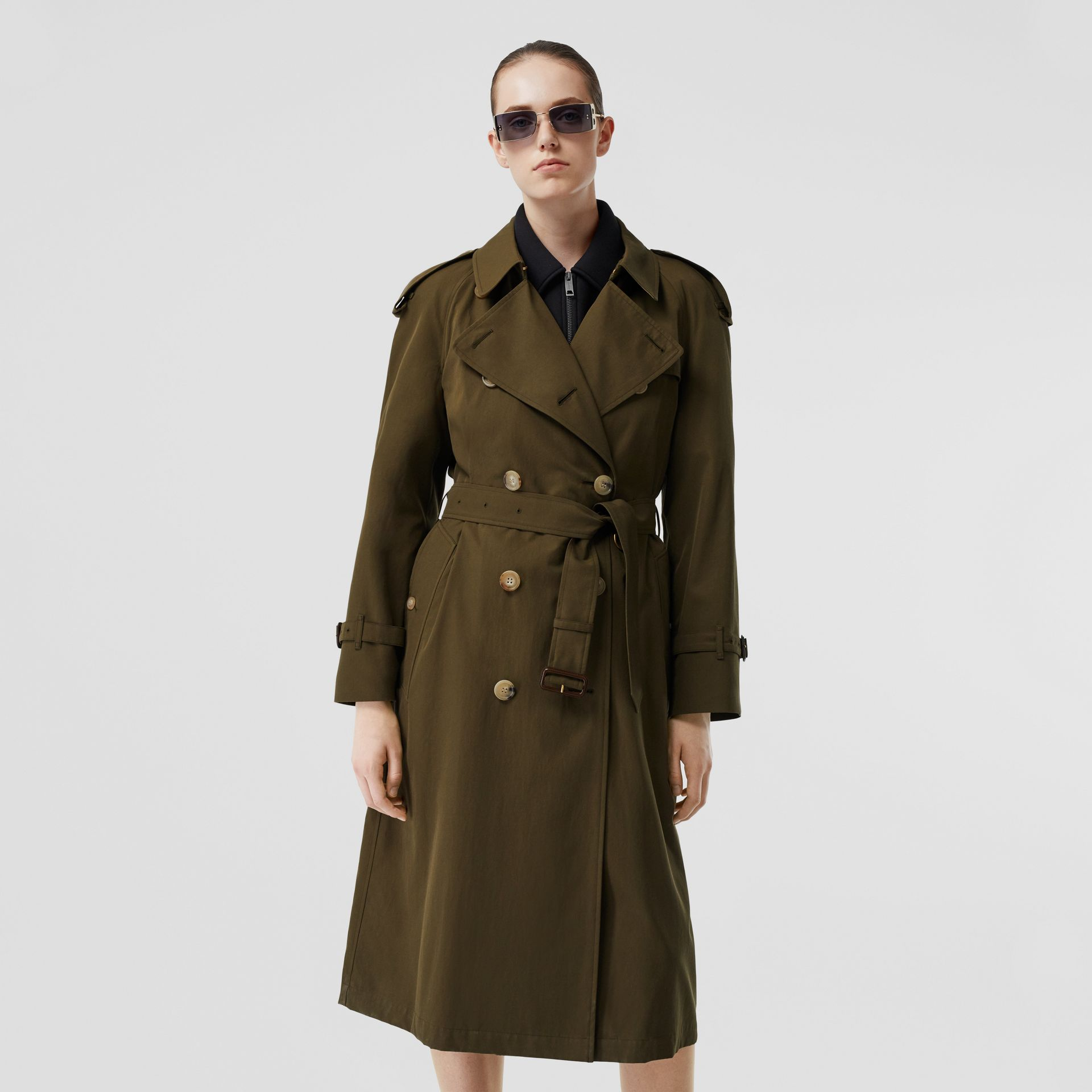 The Long Westminster Heritage Trench Coat in Dark Military Khaki - Women | Burberry Singapore - gallery image 7