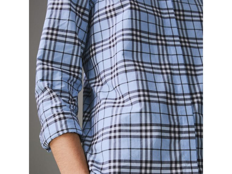 Check Cotton Shirt in Sky Blue - Women | Burberry United States - cell image 1