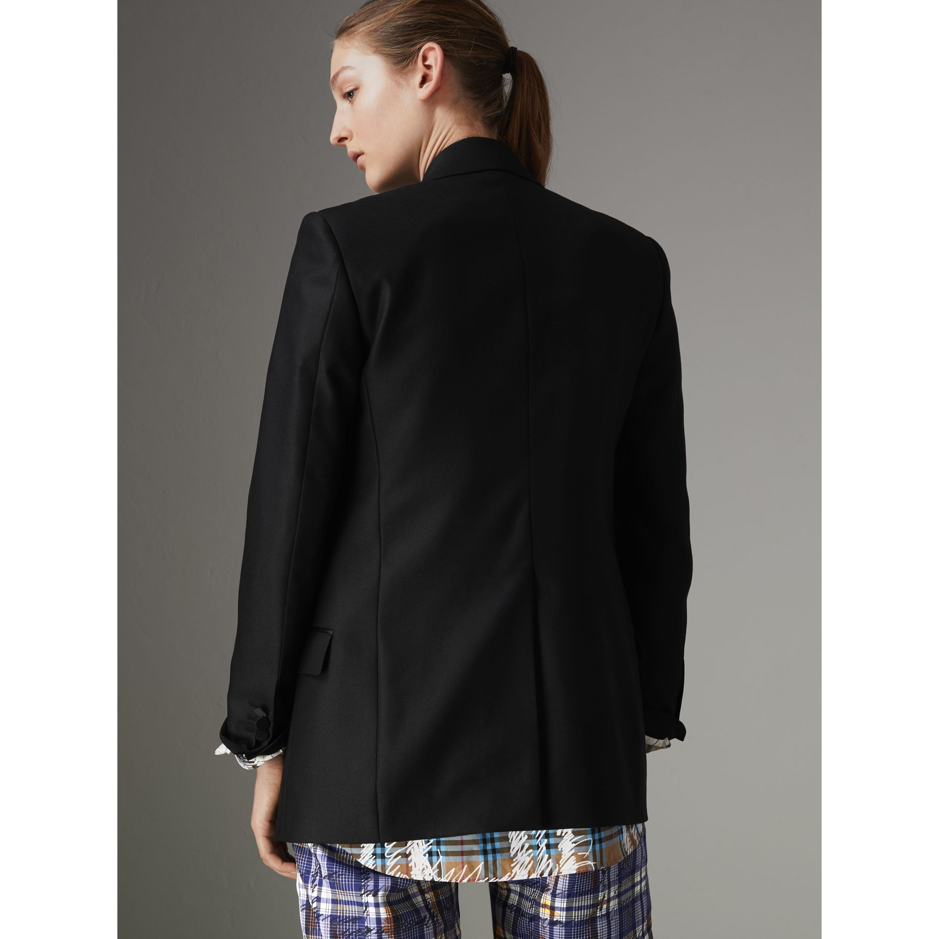 Wool Mohair Double-breasted Evening Jacket in Black - Women | Burberry - gallery image 2