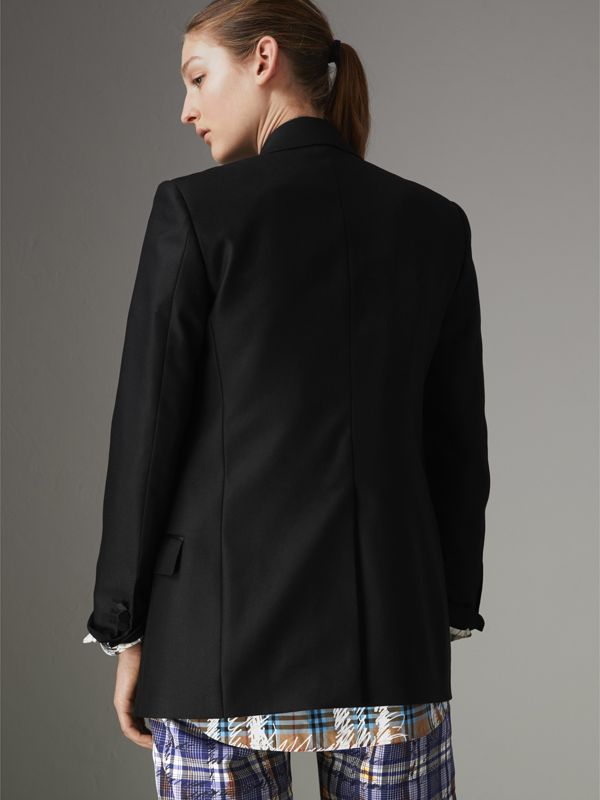 Wool Mohair Double-breasted Evening Jacket in Black - Women | Burberry Hong Kong - cell image 2