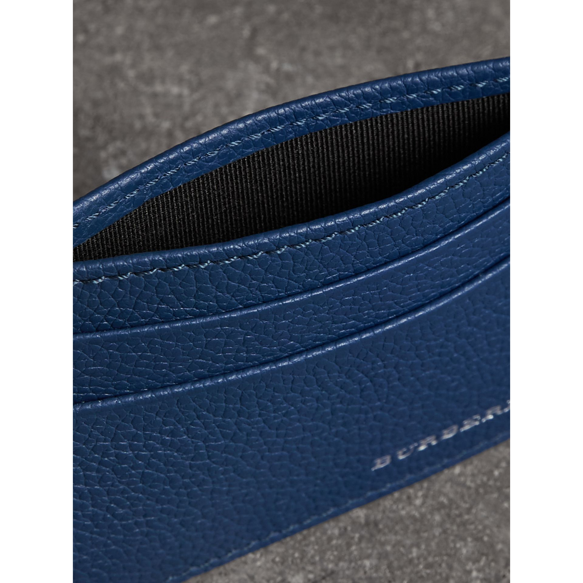 Grainy Leather Card Case in Bright Ultramarine | Burberry - gallery image 3
