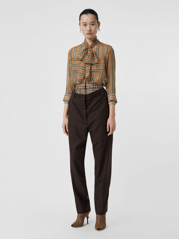 Icon Stripe Silk Pussy-bow Blouse in Antique Yellow - Women | Burberry Australia - cell image 3