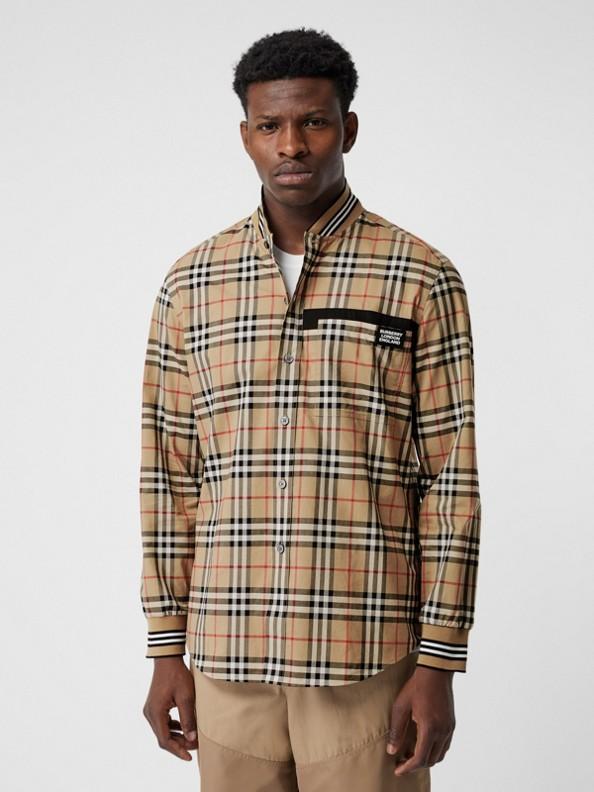 羅紋針織細節 Vintage 格紋棉質襯衫 (典藏米色)