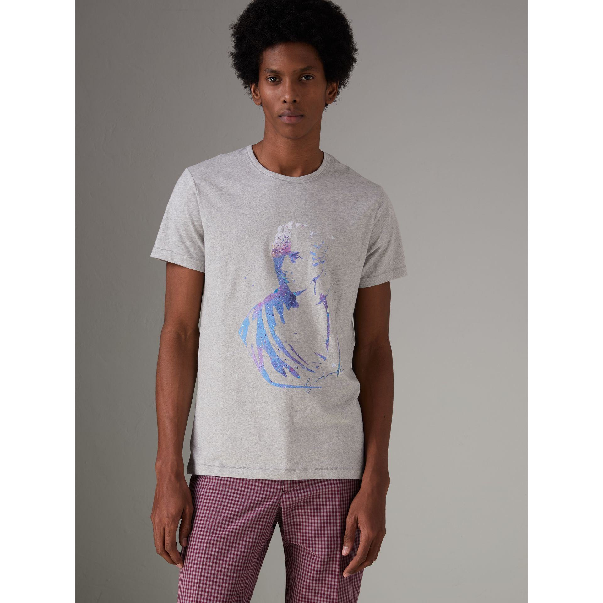 Bust Print Mélange Cotton T-shirt in Pale Grey Melange - Men | Burberry United Kingdom - gallery image 0