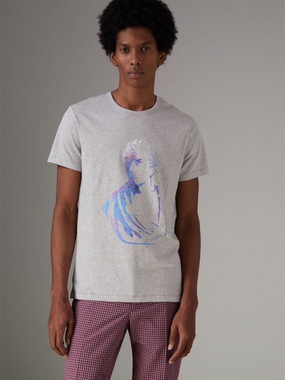 Bust Print Mélange Cotton T-shirt in Pale Grey Melange