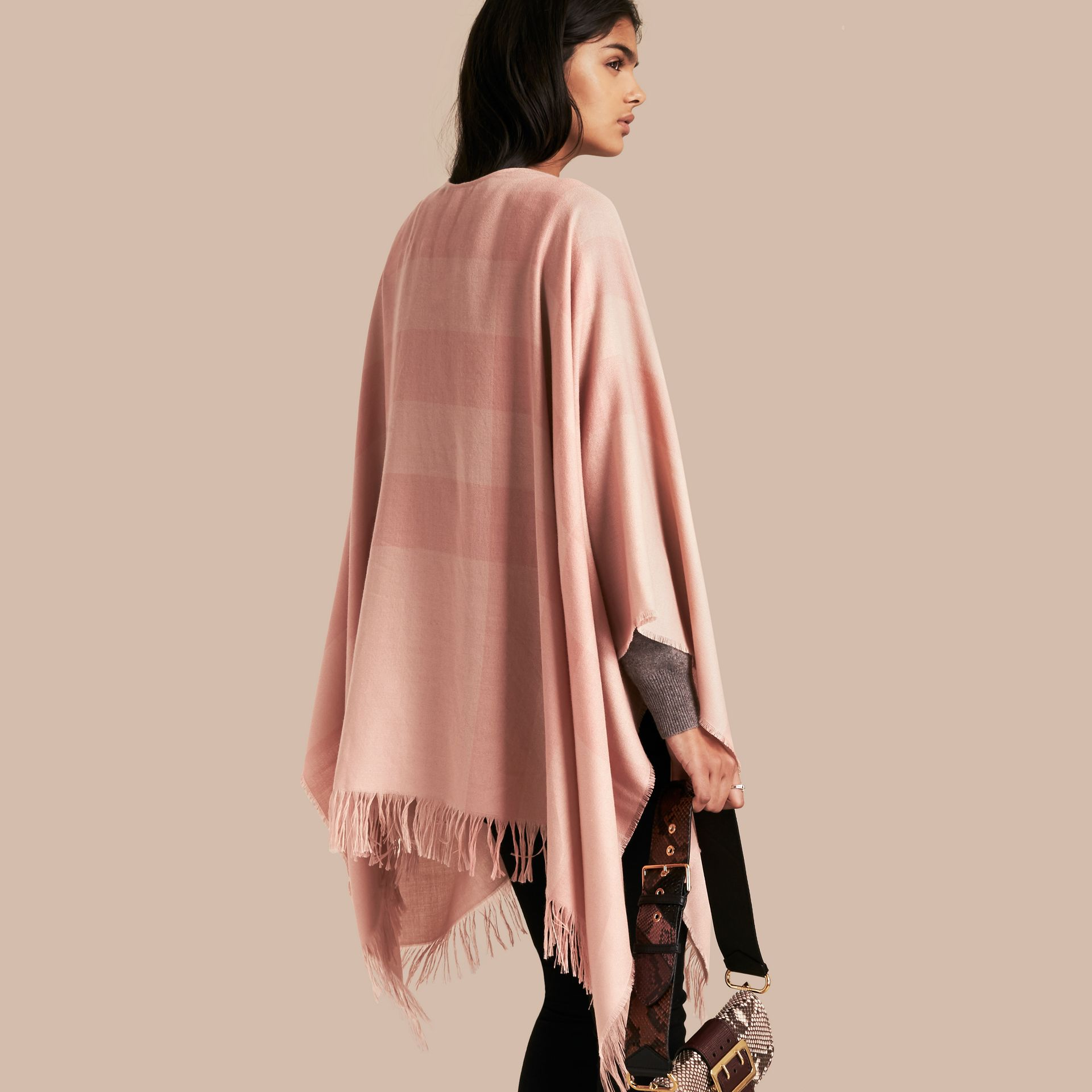 Ash rose Lightweight Check Cashmere Poncho Rose - gallery image 6