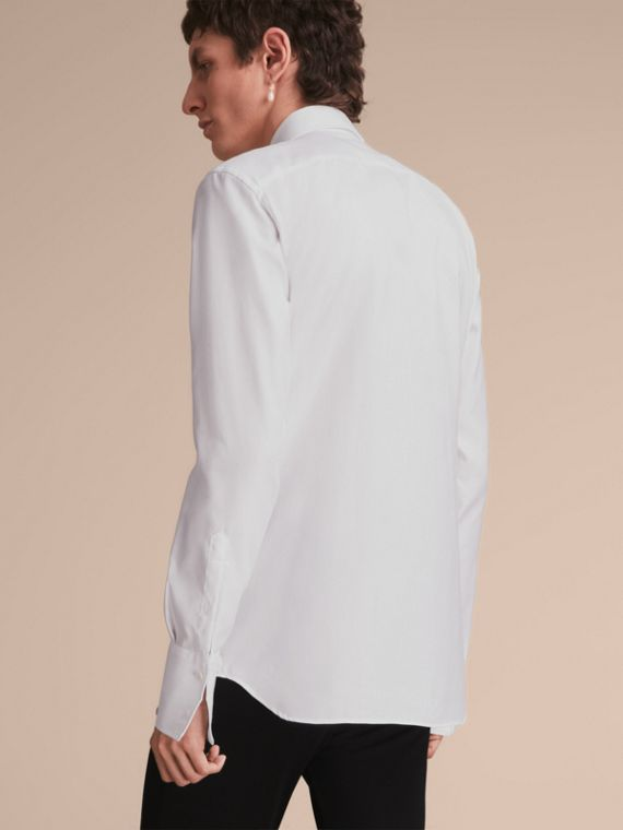 Cotton Shirt with Pintuck and Macramé Trim Bib in White - Men | Burberry - cell image 2