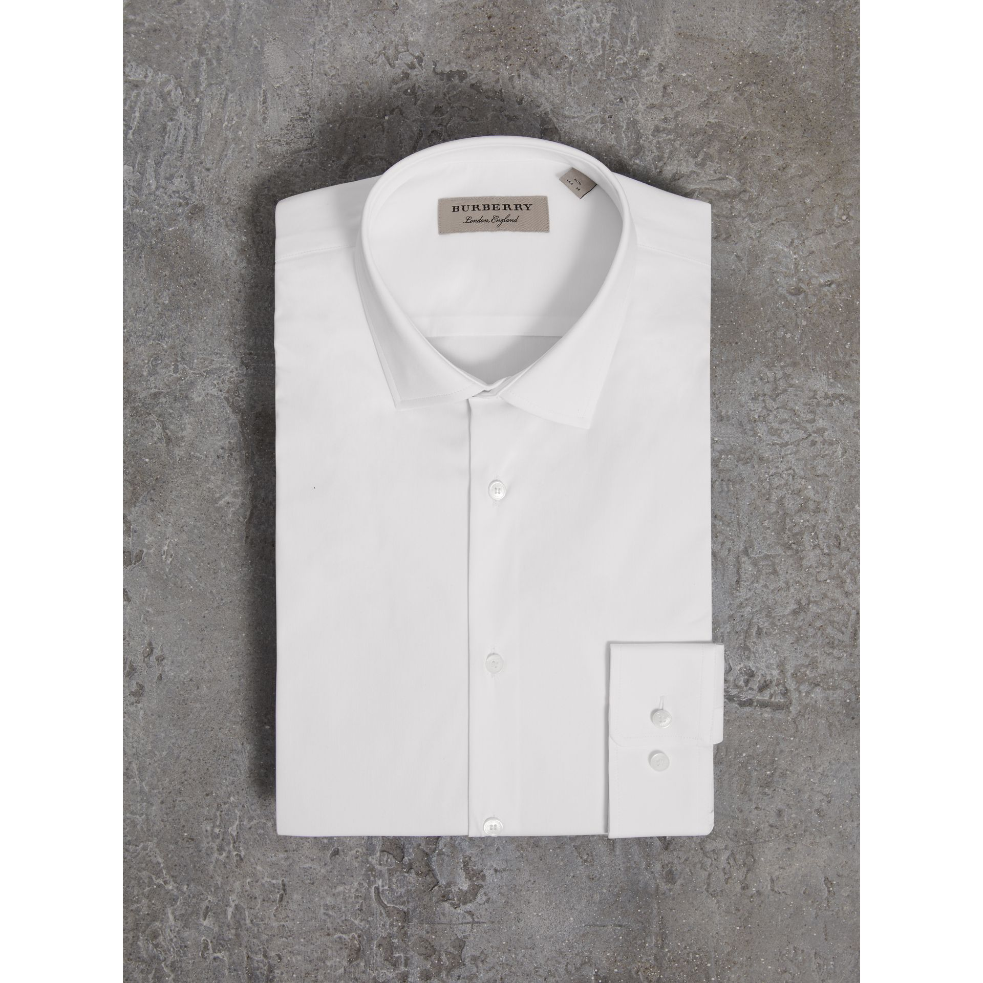 Slim Fit Stretch Cotton Poplin Shirt in White - Men | Burberry - gallery image 3