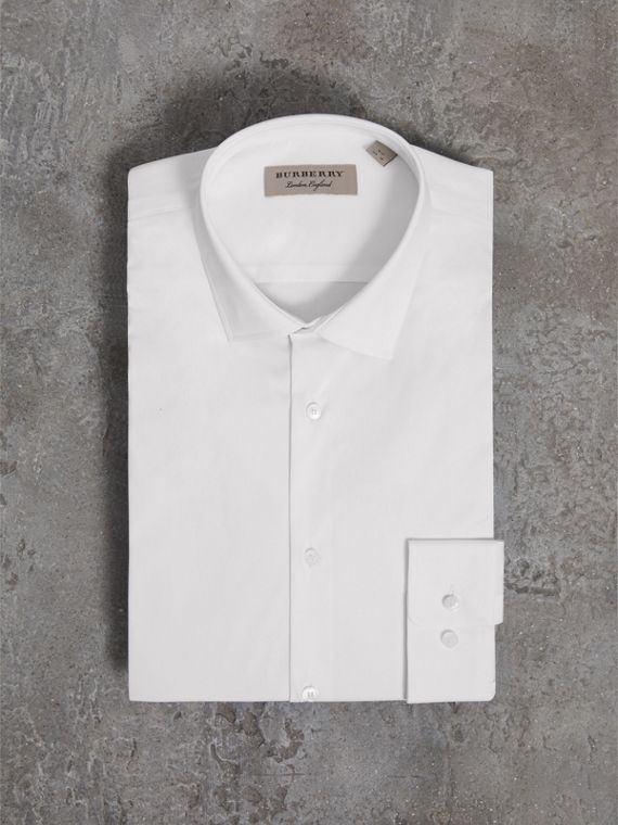 Slim Fit Stretch Cotton Poplin Shirt in White - Men | Burberry Canada - cell image 3
