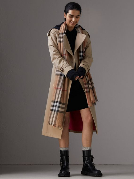 Lightweight Check Wool and Silk Scarf in Camel | Burberry Singapore - cell image 2