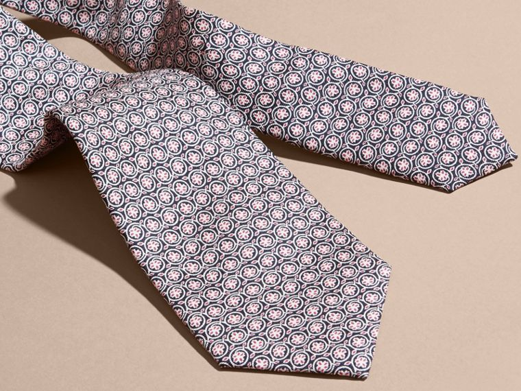 Rose pink Modern Cut Floral Print Silk Tie Rose Pink - cell image 1