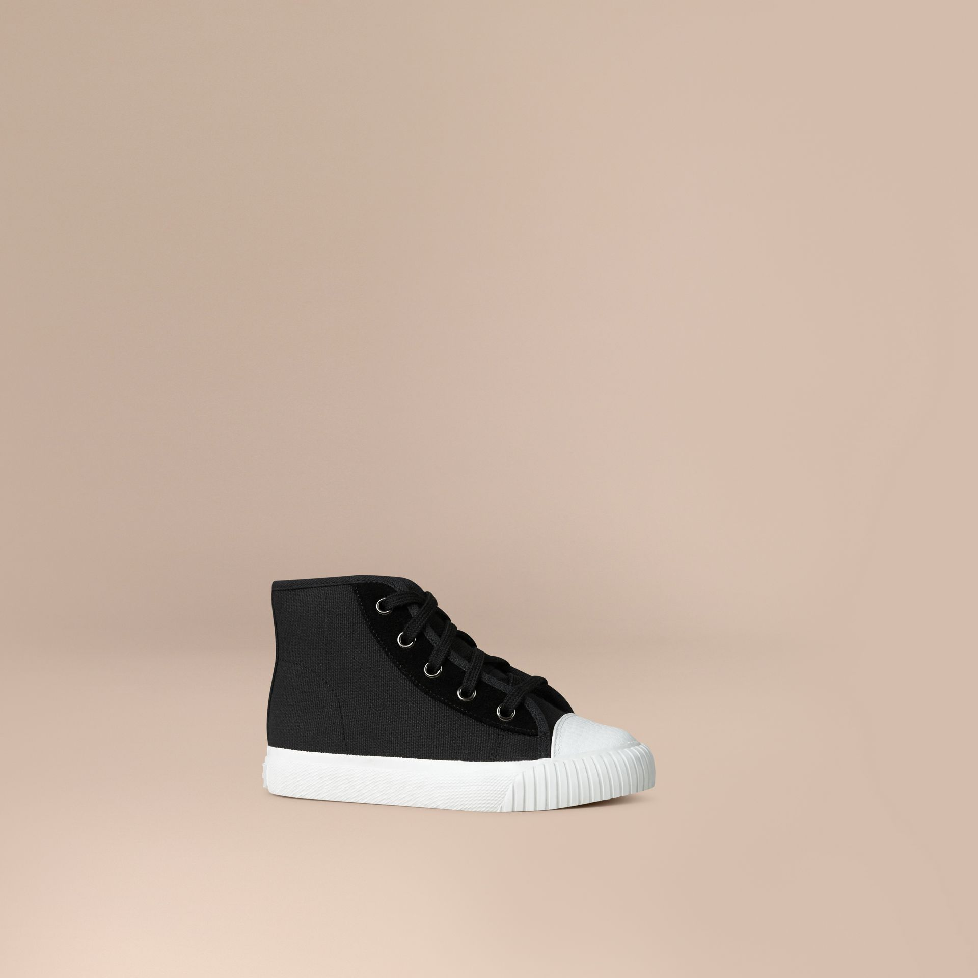 High-top Canvas Trainers in Black | Burberry - gallery image 1