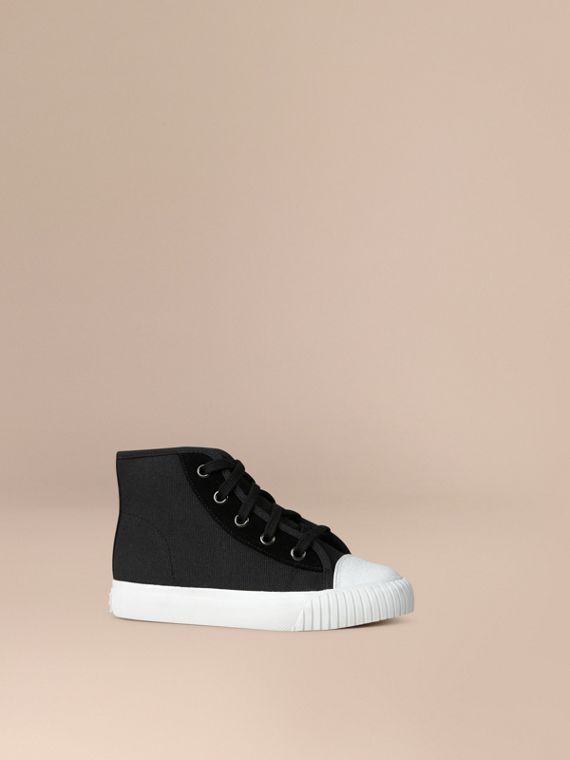 High-top Canvas Trainers in Black