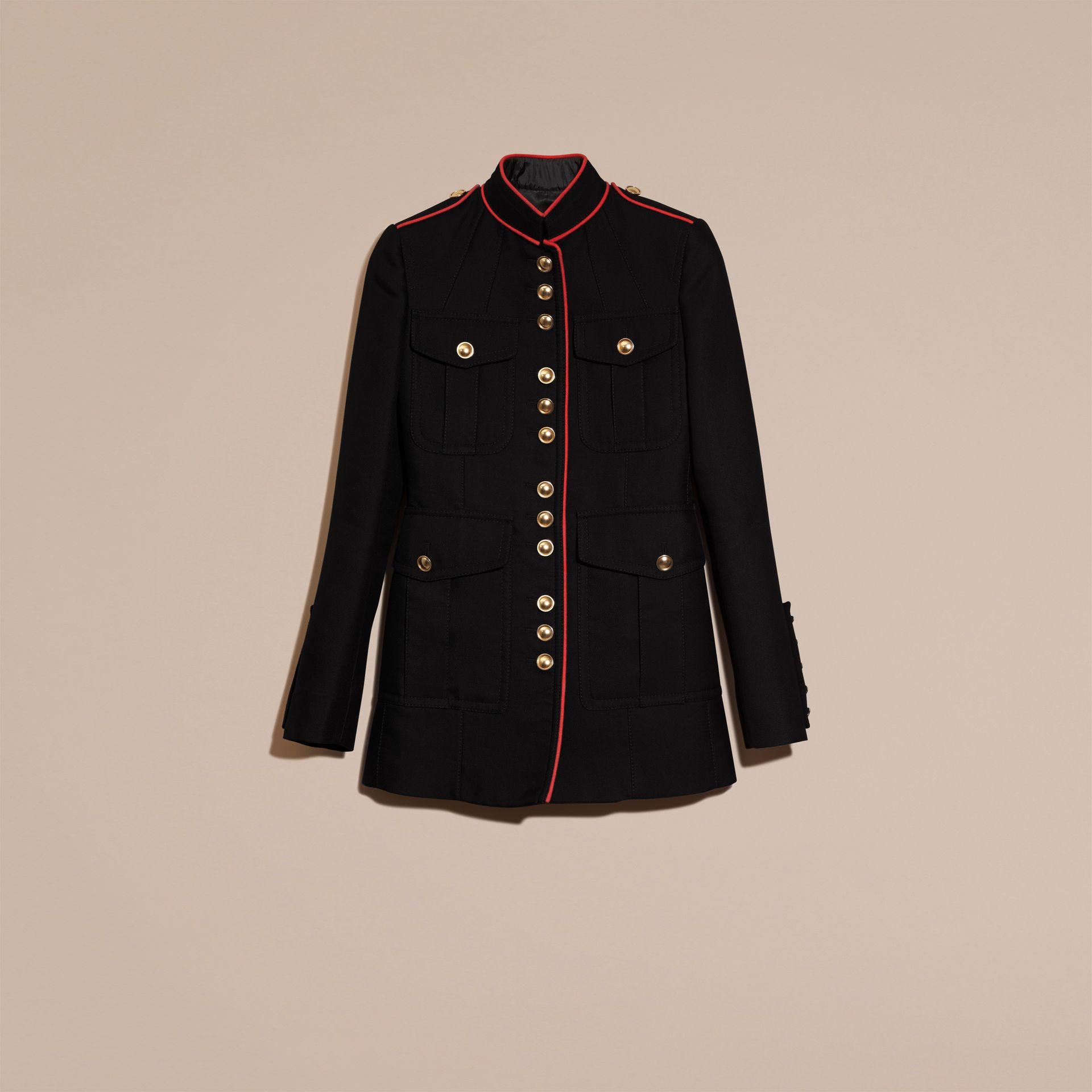 Navy Cotton Silk Regimental Jacket - gallery image 6