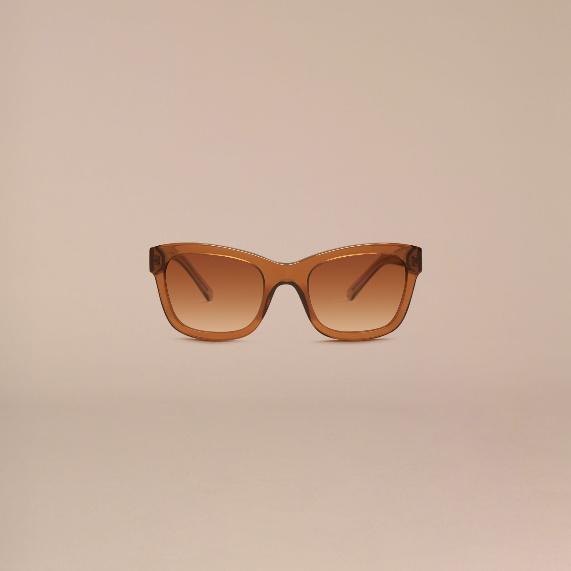 Taupe brown Check Detail Cat-eye Frame Sunglasses Taupe Brown - gallery image 2