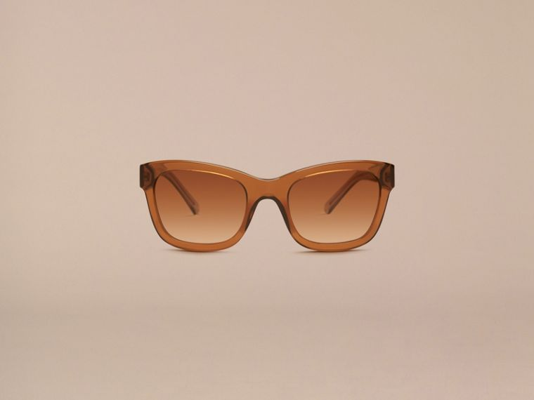 Taupe brown Check Detail Cat-eye Frame Sunglasses Taupe Brown - cell image 1