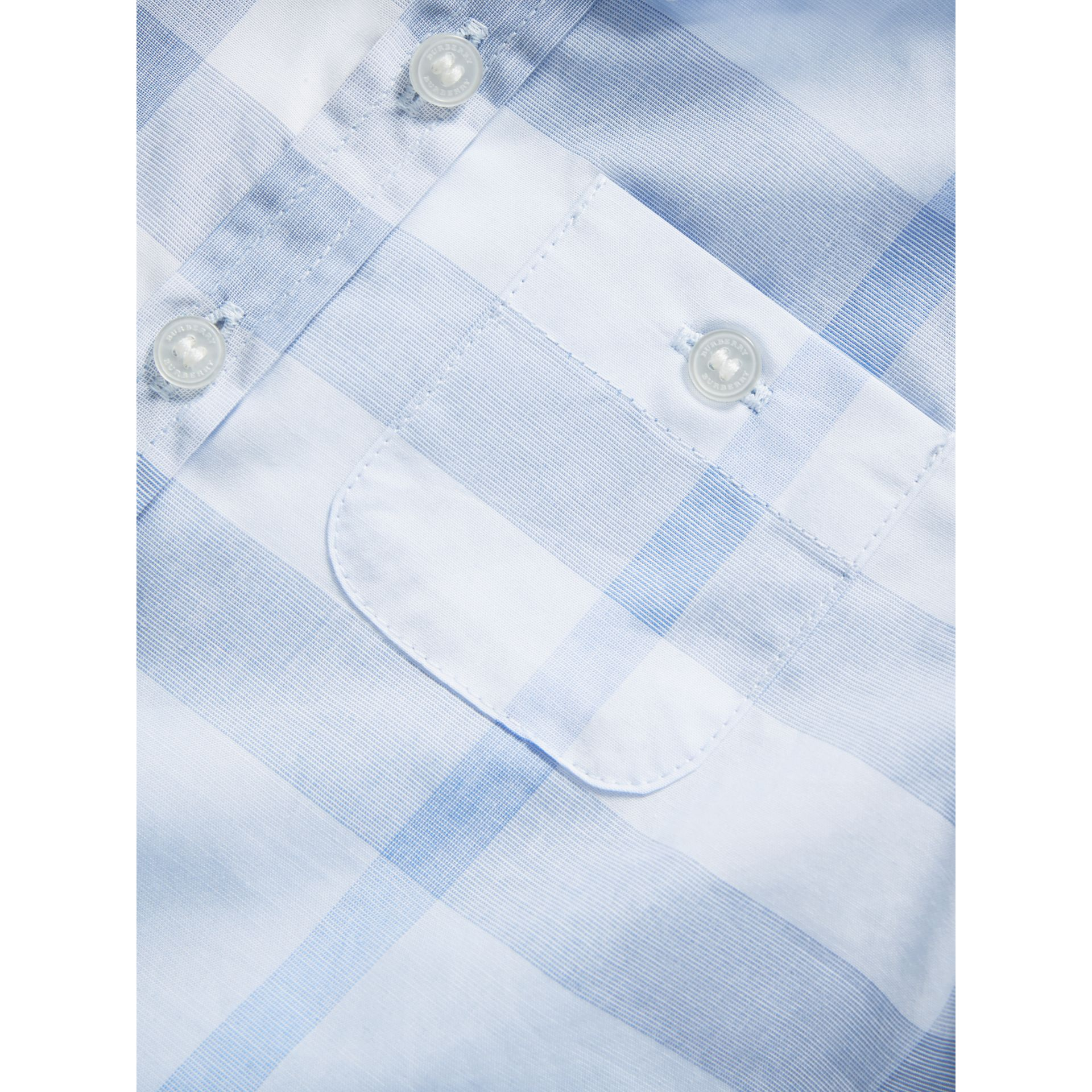 Washed Check Cotton Shirt in Ice Blue - Children | Burberry - gallery image 1