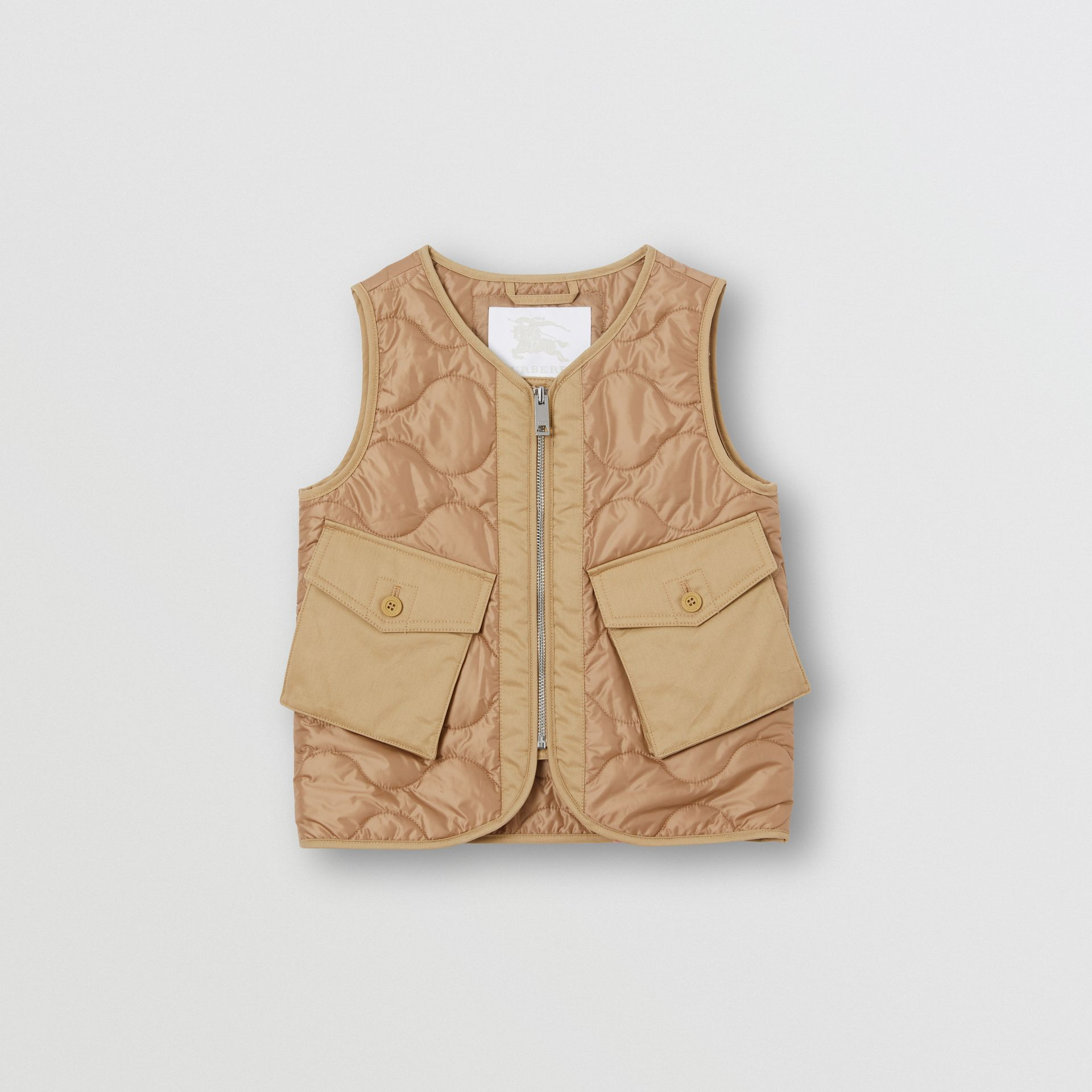 Embroidered Logo Showerproof Quilted Gilet in Honey | Burberry - gallery image 0