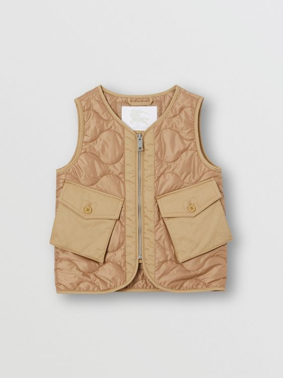 Embroidered Logo Showerproof Quilted Gilet in Honey
