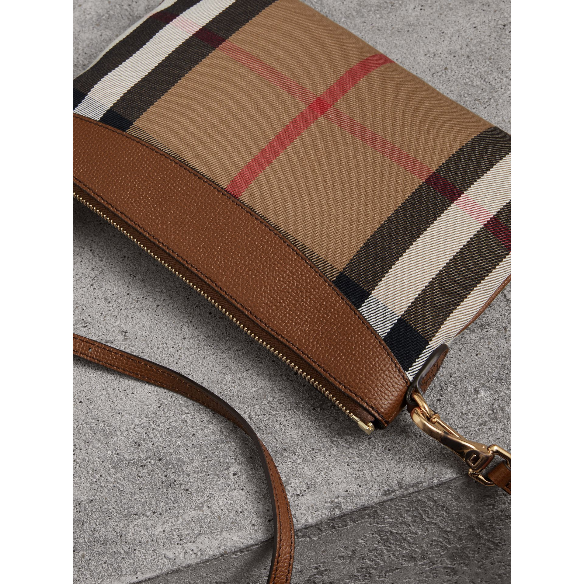 House Check and Leather Clutch Bag in Tan - Women | Burberry Singapore - gallery image 3
