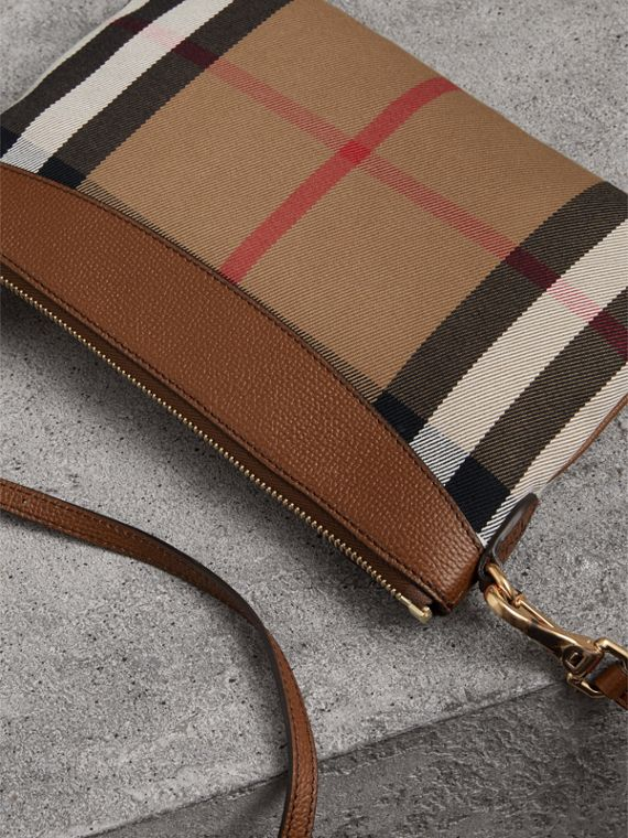 House Check and Leather Clutch Bag in Tan - Women | Burberry Singapore - cell image 3