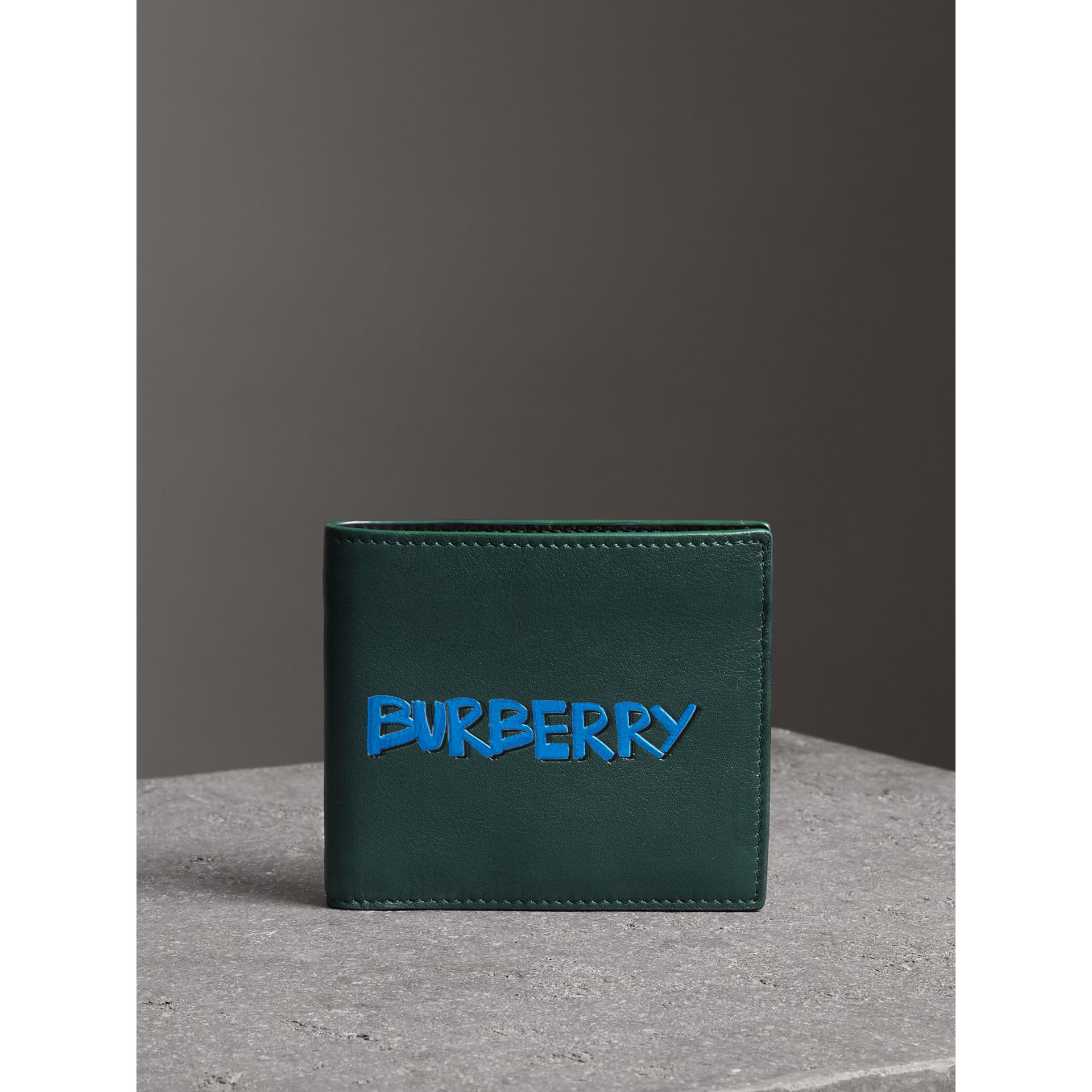 Graffiti Print Leather International Bifold Wallet in Deep Bottle Green - Men | Burberry Australia - gallery image 4