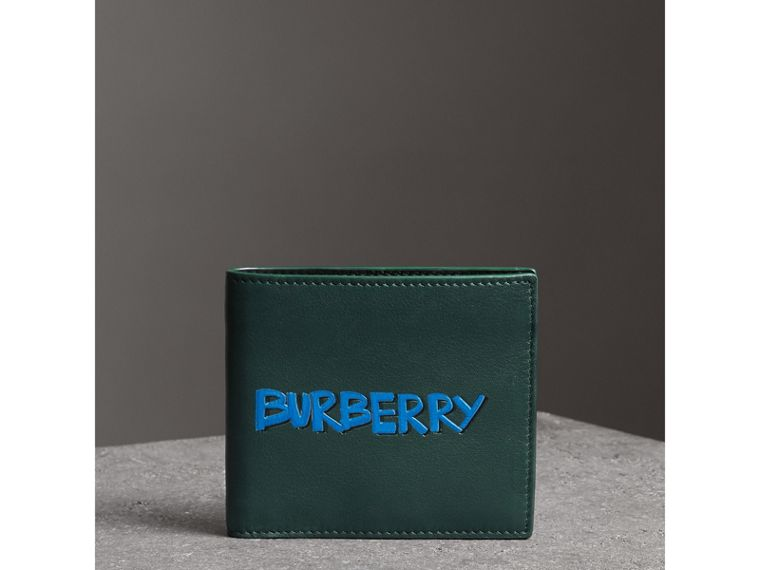 Graffiti Print Leather International Bifold Wallet in Deep Bottle Green - Men | Burberry - cell image 4