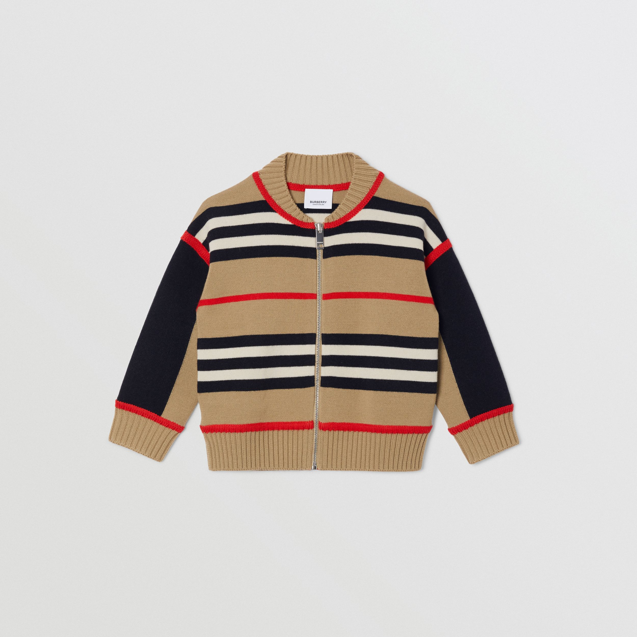Icon Stripe Wool Cashmere Blend Cardigan | Burberry - 1