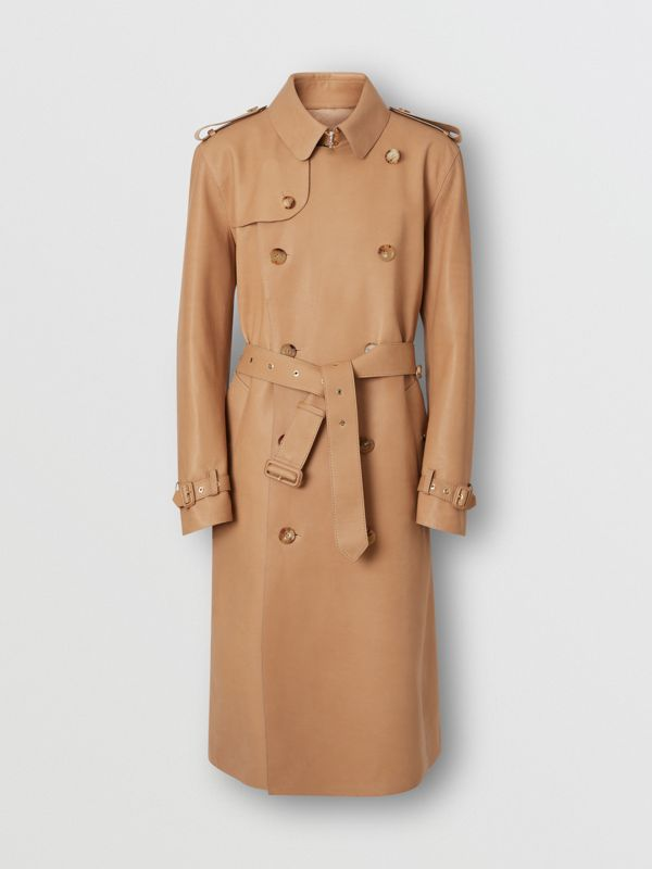Plonge Leather Trench Coat in Camel - Men | Burberry - cell image 3